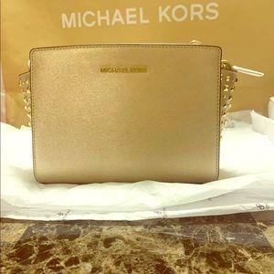 Michael Kors Selma Gold Studded Crossbody Bag